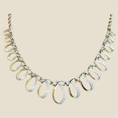 """Vintage Emmons Gold and Silver Tone Textured 17"""" Long Necklace"""