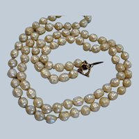 "Vintage Miriam Haskell Glass Baroque Pearl Necklace - 25"" Long - 6mm beads"