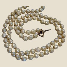 """Vintage Miriam Haskell Glass Baroque Pearl Necklace - 25"""" Long - 6mm beads"""