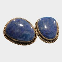 Vintage NAKAI Denim Lapis Lazuli Pierced Earrings - Navajo Native American Sterling Silver and Lapis Earrings