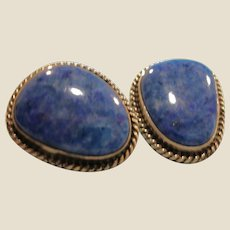 Vintage NAKAI Denim Lapis Lazuli Pierced Earrings - Navajo Native American Sterling Silver and Lapis Earrings