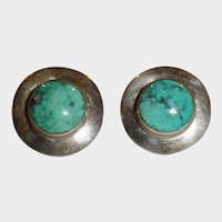 Vintage Sterling Silver Turquoise Cabochon Pierced Earrings – Post Stud Pierced Earrings