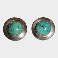 Vintage Sterling Silver Turquoise Cabochon Pierced Earrings – Post Stud Pierced Earrings