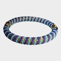 Hinged Bangle Bracelet - Faux Turquoise and Lapis Lazuli Locking Hinge Bracelet