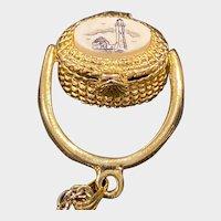 Vintage Pendant / Charm 3-D NANTUCKET BASKET with a Miniature Penny Inside