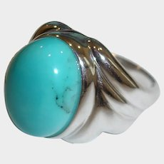 Estate Genuine Turquoise and Rhodium Plated Ring