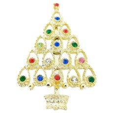 Vintage Mid Century Mod Design Rhinestone Christmas Tree Brooch