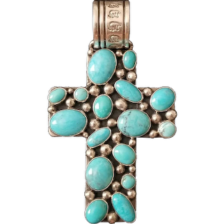 Vintage NAKAI and PHILBERT SECATERO Sterling Silver and Turquoise Cluster Cross / Pendant – 43.2 Grams
