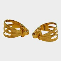 Vintage HOOP Earrings - Hoops Light Weight Gold Tone Clip On Earrings