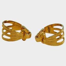 Vintage HOOP Earrings - Hoops Light Weight Gold Tone Clip On Earrings