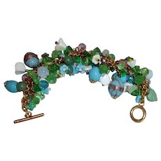 Beaded Charm Bracelet in Blue, Green, White with touches of Pink