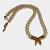 Vintage Creamy Faux Pearl Necklace with Central Gold Tone Design