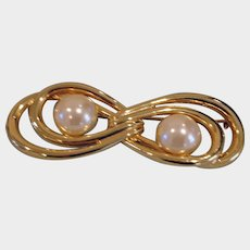 Vintage Large Faux Mabe Pearl Brooch - Figure Eight Design Pin
