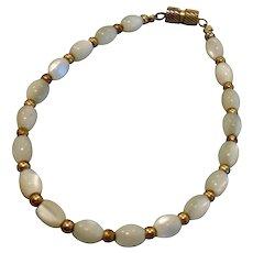 "Vintage Iridescent Shimmery White and Gold Tone Beaded Bracelet - 7.25 "" Long"