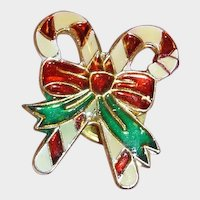 Candy Cane Christmas Pin - Tie Tack Closure