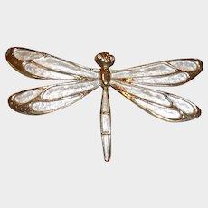 Vintage Pastelli Signed Designer Dragonfly Brooch Pin – Creamy and Gold Tone