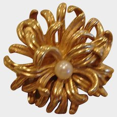 Vintage Signed Gold Plated Glass Pearl Brooch – Pin