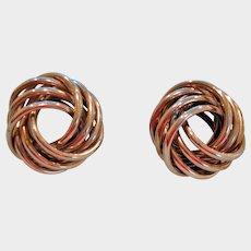 Vintage Love Knot Earrings - Pierced Rhodium Plated Love Knots