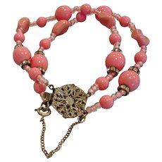 "Vintage RARE Pink Beaded Miriam Haskell Signed Bracelet - 7"" Long"