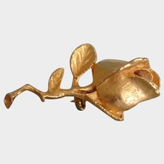 Vintage Signed DEA or PEA Gold Tone Rose Brooch Pin
