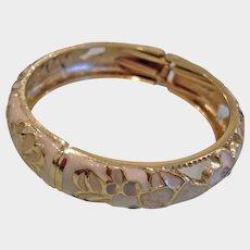 Vintage Enamel and Gold Tone Hinged Clamper Bangle Bracelet