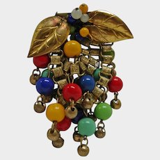 Vintage Miriam Haskell Multi Color Beaded Book Chain DANGLE Brooch