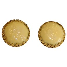 Vintage Miriam Haskell Gold Tone Signed Clip-on Earrings