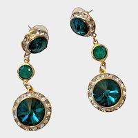 Vintage Green Rivoli Rhinestone Pierced Dangle Earrings -
