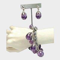 Vintage 1950's NAPIER Demi Parure - Purple Dangle Earrings and Charm Bracelet Set