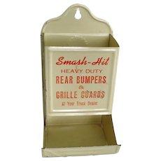 Vintage Painted Metal Match Box Holder – Kitchen Matches Size – Smash-Box Advertising