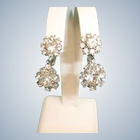 Vintage Sparkling Rhinestone Drop Dangle Earrings - Clip-On Earrings