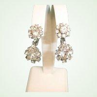 Vintage Sparkling Rhinestone Drop Dangle Earrings - Clip-On Earrings