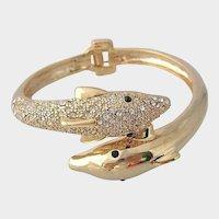 Dolphin Rhinestone Clamper Bracelet - Vintage Bangle