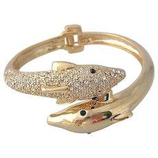 Vintage Dolphin Rhinestone  Clamper Bracelet