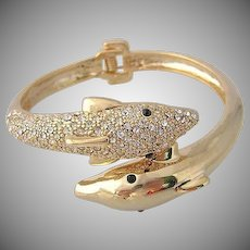 Vintage Dolphin Rhinestone  Clamper Bracelet