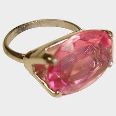 Vintage 1960's Large Pink Glass Ring