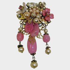 Vintage Pink Miriam Haskell 1940's Dangle Mixed Stone Brooch