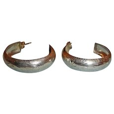 Vintage Hand Stamped Sterling Silver Hoop Earrings - Large and Lightweight
