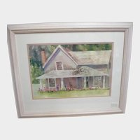Vintage Limited Hand Signed Watercolor Print - His Sister's House - by Judy Buswell