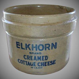 Antique ELKHORN Cottage Cheese Crock - RARE - Colbalt Blue Lettering Stoneware - Rustic Farmhouse Primitives