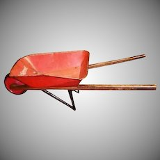 Vintage Child's  Size -- Red Toy Wheelbarrow - Made in the USA