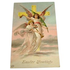 Antique Embossed Easter Greeting Postcard - Angels Post Card - UNUSED