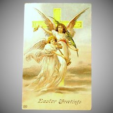 Antique Embossed Easter Greeting Postcard - Angels Post Card UNUSED