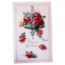 Vintage Birthday Greeting Postcard - Red Roses Post Card