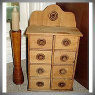 Wooden Spice Cabinet - Old Wood Spice Cupboard with Drawers - Farmhouse Kitchen Primitives