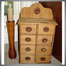 Antique Spice Cabinet - Old Wood Spice Cupboard with Drawers - Wooden Farmhouse Kitchen Primitives
