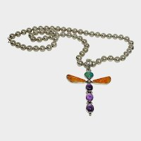 Allison Lee - Snowhawk - Vintage Native American Sterling Dragonfly Pendant with Sterling Bead Navajo Pearl Necklace