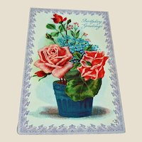 Vintage Floral Birthday Greeting Postcard - Red Roses Post Card