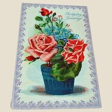 Vintage Floral Birthday Greeting Postcard - Red Roses Post Card