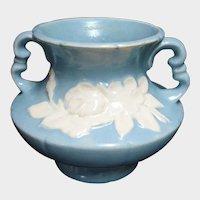 """Vintage WELLER Blue Cameo Vase - Designer Signed Pottery Vase - 5"""" by 6"""" Vase"""